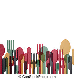 Abstract Cutlery - Vector Illustration of an Background with...