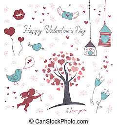 Valentine's Day Elements - Vector Illustration of...
