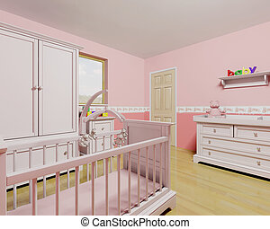 Nursery for baby girl - 3D render of a nursery for a baby...