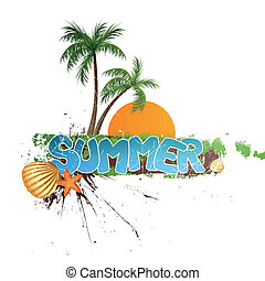 Summer Holiday Background - Vector Illustration of a Summer...