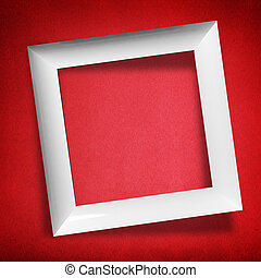 Modern empty frame on red background
