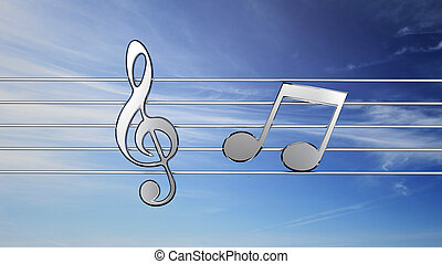 Music notes in front of sky background