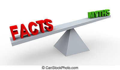3d word facts and myths on balance - 3d render of word facts...