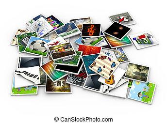 3d heap of images