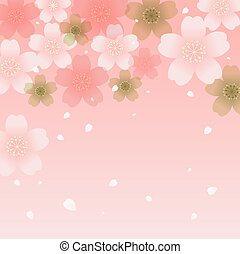Shower of Cherry Blossoms. Vector. EPS 10. Transparency and...