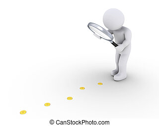 Person with magnifier follows the money