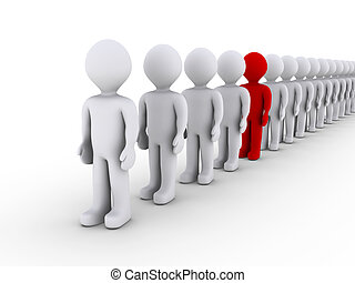Distinguishing in a line of people - 3d people in line and...