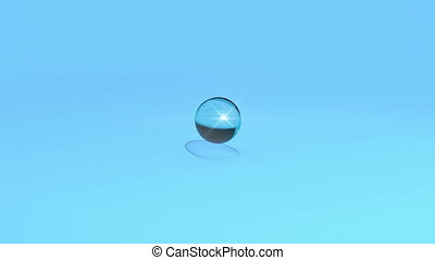 Water drop falling on blue background and splashing in slow...