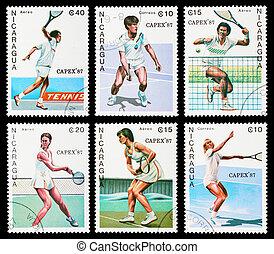 Postage stamp - NICARAGUA - CIRCA 1987: A set of postage...