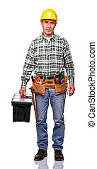 handyman with toolsbox - portrait of senior handyman...