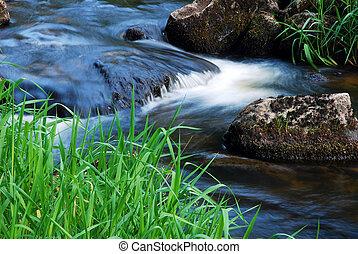 spring flowing stream - spring flowing brook, detail flowing...