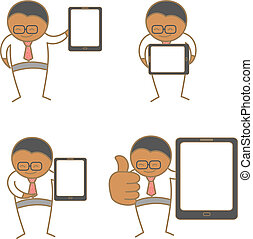 cartoon character set of man with tablet