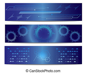 blue tech vector banner
