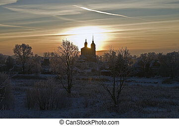 Winter sunset - Winter Sunset in Suzdal an ancient Russian...