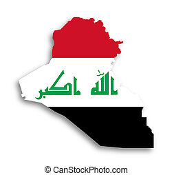 Map of Iraq filled with flag