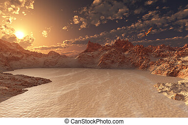 Red Valley - This image shows a red valley with sand in a...