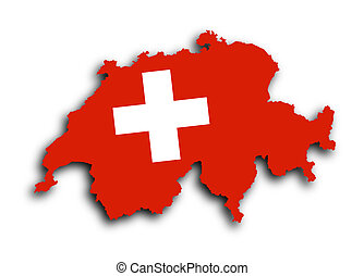 Switzerland map with the flag inside