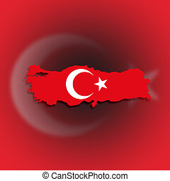 Turkey map with the flag inside