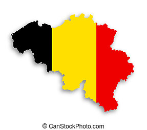 Flag and country border line of belgium, isolated