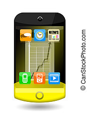 Smartphone with apps icons and upward arrow on the touch...