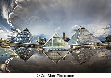 Glass Pyramids - Glass pyramids used as a botanical gardens....