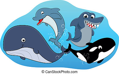 Sea Mammal Set - Vector Illustration Of Sea Mammal Set
