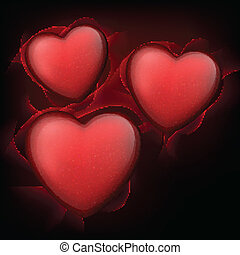 Classical red hearts with stars.