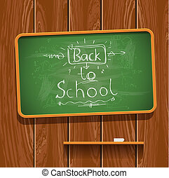 Back to school, chalkwriting on blackboard, vector Eps10...