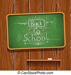 Back to school, chalkwriting on blackboard, vector Eps10...