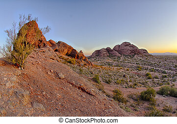 Papago Park - The sonoran desert landscape of the cacti and...