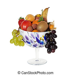 Long stemmed decorative fruit bowl with fresh fruits...