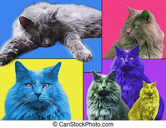 POPart Cats with texture