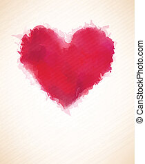 Watercolor heart. - Vector Illustration of red watercolor...