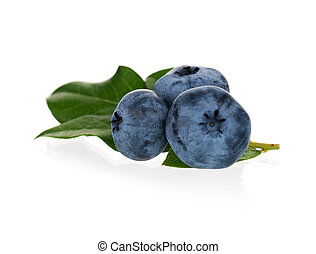 Ripe blueberries - Fresh ripe blueberries with leaves on...
