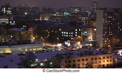 City time lapse at night. Moscow, aerial view. Wide shot,...