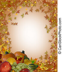 Thanksgiving Autumn Border - Illustration composition of...