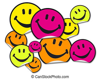 Collection of smiley stickers - A collection of yellow,...
