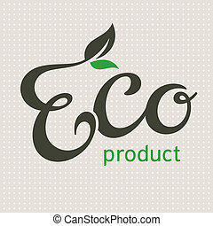 Eco product lettering, vector illustration