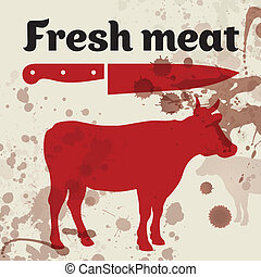 Fresh meat, beef, vector illustration