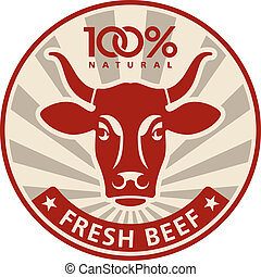 Label with the head of a cow, vector illustration