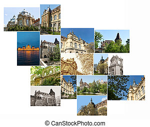 Summer outdoor shot of Hungarian Agricultural Museum building multishot collage.