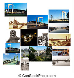 multishot collage of of Budapest bridges