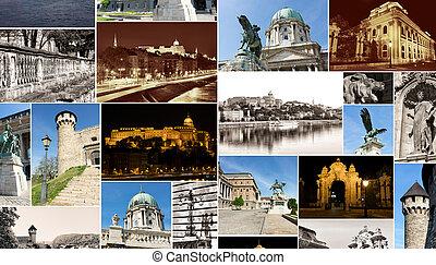 royal palace multishot collage, budapest, hungary