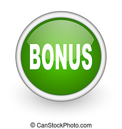 bonus green circle glossy web icon on white background