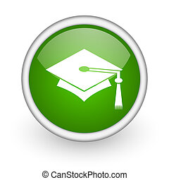 graduation green circle glossy web icon on white background...