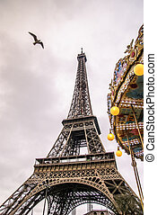 Paris and Eiffel Tower - Eiffel Tower and Gulls in January