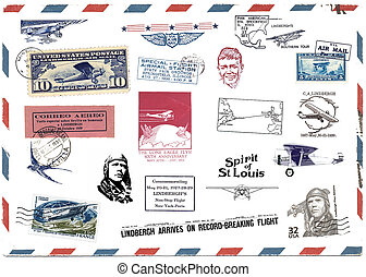Postage stamps and airmail labels about Charles Lindbergh -...