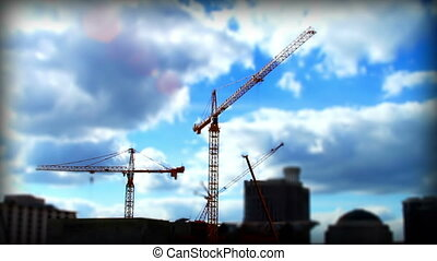 Cranes Skyline Tilt shift Time