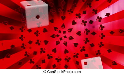 Dice and Card Suits Red Looping Animated Background