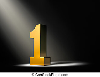 Shining a Light On Number One! - Gold number one in the dark...